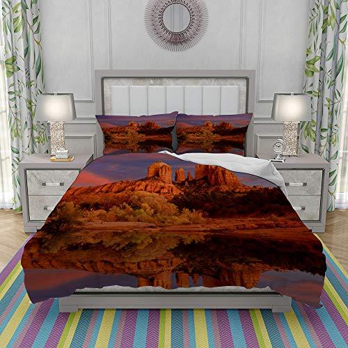 REIOIYE Duvet Cover Set-Bedding,Red Rocks State Park Arizona And Oak Creek At Dusk Sedona Arizina,Quilt Cover Bedlinen-Microfibre 200x200cm with 2 Pillowcase 50x80cm