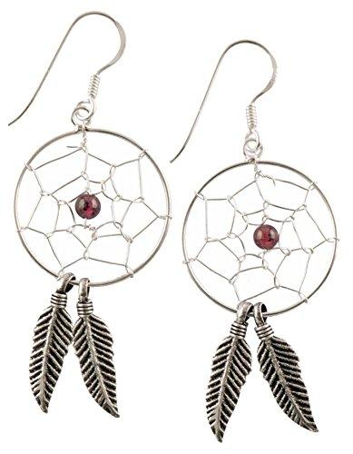 FILANGO® Damen Ohrhänger 925er Silber TRAUMFÄNGER HALBEDELSTEIN Rote Jade 20 mm Größe