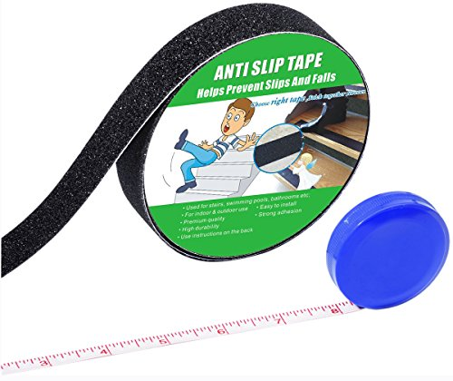 Anti Slip Tape, High Traction,Strong Grip Abrasive, Not Easy Leaving Adhesive Residue, Indoor & Outdoor, with Measuring Tape (1' Width x 190' Long, Black)