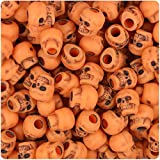 BeadTin Orange Antique 11mm Skull Pony Beads (150pcs)