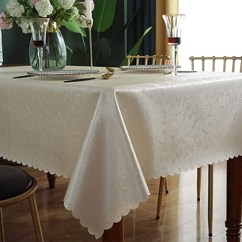 DARUITE Tovaglia Antimacchia Quadrata Plastificata Impermeabile Elegante Stampa Fiori Rettangolare per Picnic, Cucina, Outdoor, Indoor - 160 x 160 cm, Beige Chiaro