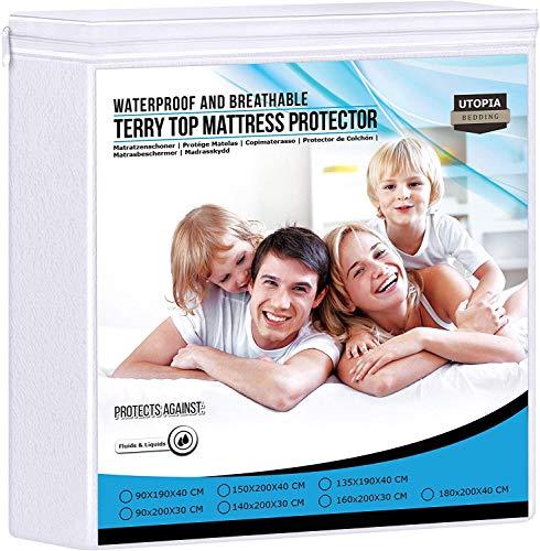 Utopia Bedding Premier 200 gsm 100% Impermeabile Materasso Protettore, Coprimaterasso in Cotone Terry, Traspirante, Stile Montato Tutto Intorno Elastico (160 x 200 cm)