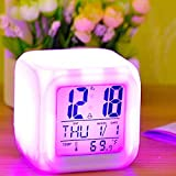 MINDRISERS Plastic 7 Color Changing LED Digital Alarm Clock with Date Time Temperature for Office and Bedroom (Colour May Vary)