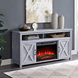 BELLEZE 58' Corin Barn Door Wood Fireplace Stand with Remote Control for TV's Up to 65' Living Room Storage - Light Gray
