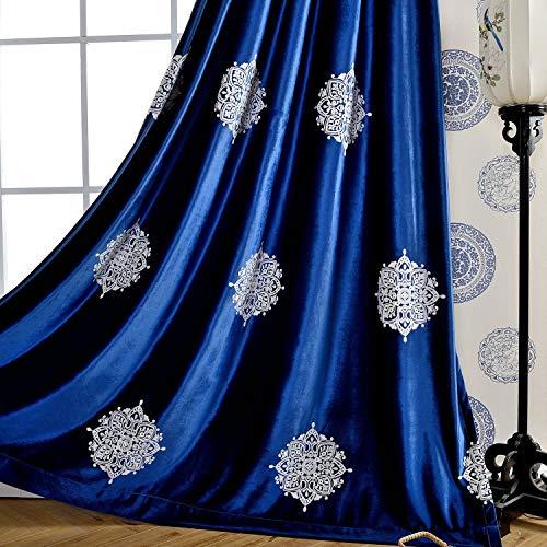 VOGOL Blackout Velvet Curtains 96 Inches Long for Bedroom, White Flowers Embroidered Room Darkening Window Drapes for Living Room, 52x96, 2 Panels, Dark Blue