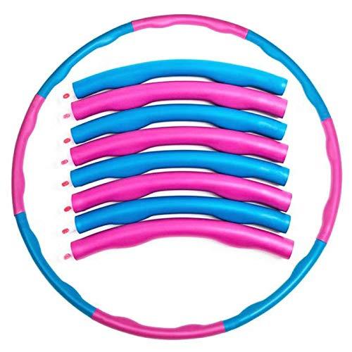 Hula Hoop Reifen Fitness Erwachsene Kinder, Professionelle Hula Hoop 8 Knoten abnehmbares Design blau+rosa,Hula Hoop für Anfängermit Gymnastikreifen zum Abnehmen,Massage