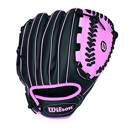 "Wilson Sporting Goods Co. A200 10"" Right-Hand Baseball Glove - Guantes de béisbol (Right-Hand Baseball Glove, 10"", Específico, Niño, Negro, Rosa)"