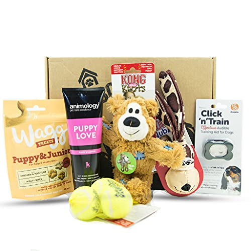DogBox Boutique Puppy Hamper Dog Gift Box Dog Hamper Perfect For Dog Bursting Dog Treats, Toys And Accessories