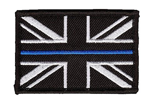 Polamb Products Thin Blue Line Police Union Jack Hook + Loop backed patch (UK Badge insignia) Small