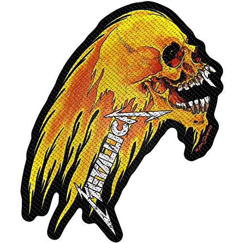 Metallica Patch Flaming Skull Band Logo Official Woven Sew On