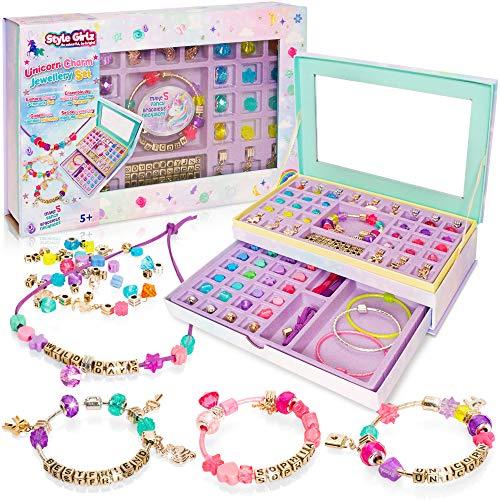 Style Girlz Unicorn Jewellery Making Kit - Kids Friendship Bracelets & Necklaces Set - Beads & Charms Arts & Crafts For Girls Aged 5 Years +