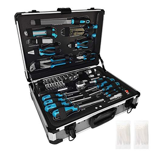 HENGMEI 208-teilig Werkzeugsatz im Alukoffer Universal Alu Werkzeugkiste Werkzeugkoffer Für Haushalt, Garage & Werkstatt