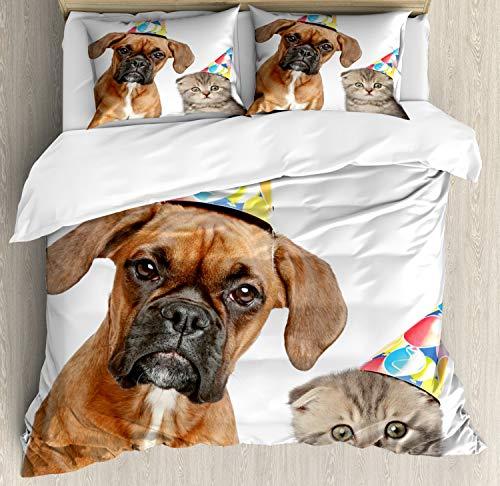 ABAKUHAUS Boxer-Hund Funda Nórdica, Divertido Gato escocés Perro, Estampado Lavable, 3 Piezas con 2 Fundas de Almohada, 230 cm x 220 cm, Multicolor