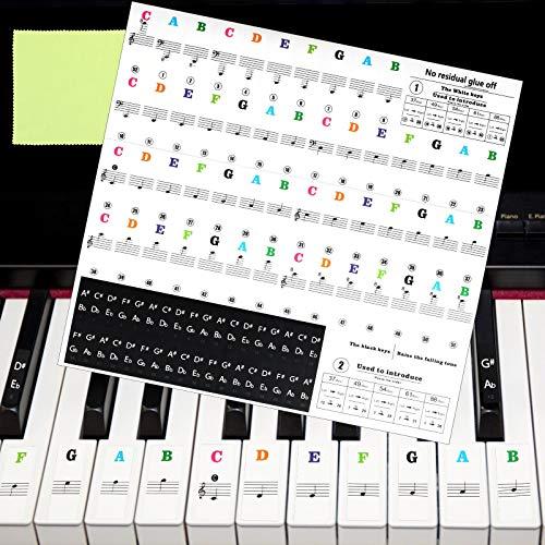 Matogle Klavier Aufkleber Keyboard Klaviertasten Klavieraufkleber Kinder Noten Aufkleber für 37/49/54/61/88 Tasten, transparent und abnehmbar für Anfänger einfache Anleitung (Mehrfarbig)
