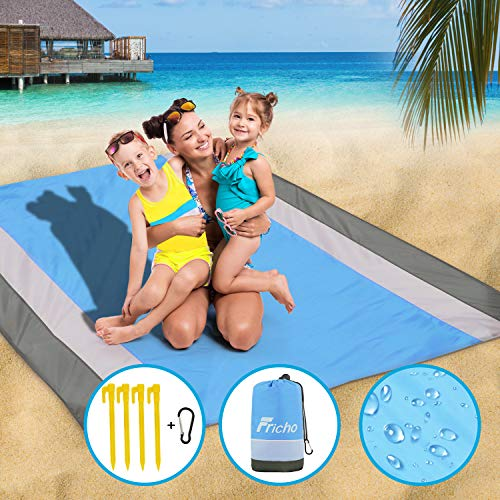 Beach Blanket Sandproof Picnic Blanket Waterproof Extra Large 78.7*82.7inch Sandfree Beach Mat with 4 Fixed Nails Portable Camping Accessories for Beach, Camping, Hiking, Picnic and Baby Playing.