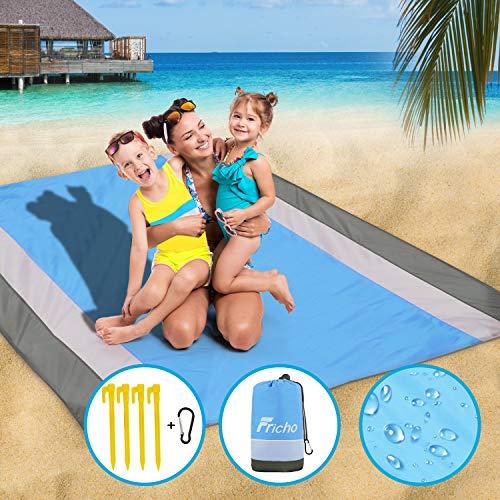 Fricho Stranddecke sandfrei Picknickdecke wasserdicht XXL strandmatte wasserdicht mit 4 festen Nägeln Tragbares strandzubehör Urlaub für wanderdecke Camingmatte