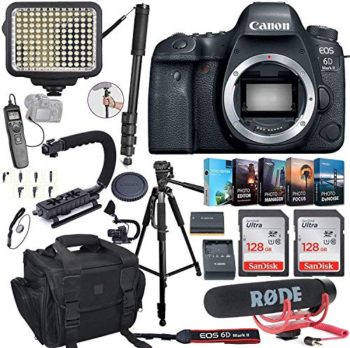 Canon EOS 6D Mark II DSLR Camera (Body Only) Bundle Includes 2X 128GB Memory, LED Video Light, Case, Rode Microphone, U-Grip, Time Remote with LCD, Photo/Video Software Package & More