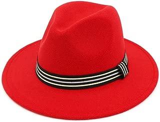 XinLin Du Fashion Men Women Fedora Hat With Striped Satin Jazz Pop Hat Outdoor Casual Hat Size 56-58CM