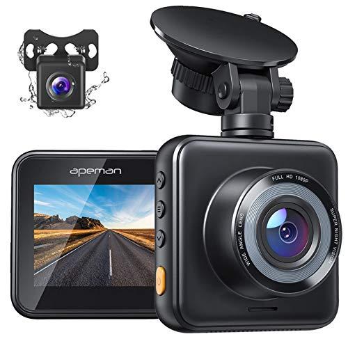 APEMAN Dashcam Vorne und Hinten Autokamera, 1080P FHD Mini Dual Lens Kamera, 170 ° Weitwinkel mit Nachtsicht, G-Sensor, Parküberwachung, Loop-Aufnahm und WDR