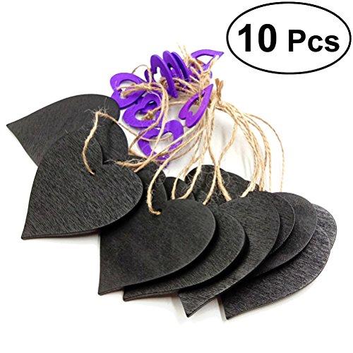 ULTNICE 10 pièces Mini tableaux effaçables tableaux noirs Hanging Plaque Bienvenue signe Plaque artisanat (Purple Heart Shape Couleur)