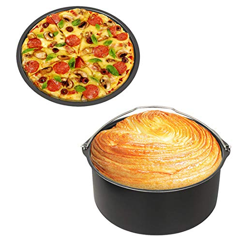8-inch Air Fryer Cake Pan & Pizza Pan - Set of 2 Non-stick - Fit for All 4.2QT - 5.8 QT Standard Deep Fryers,Dishwasher Safe
