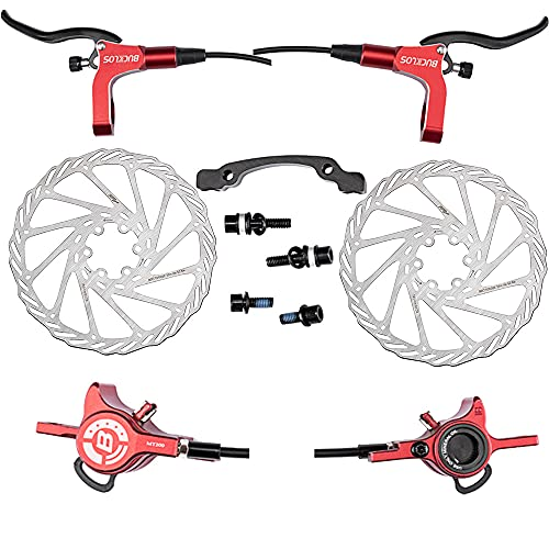 BUCKLOS MTB Hydraulic Disc Brakes Set with 2PC 160mm Rotor, Mountain Bike Brake Left Front Right Rear 1 Pair, fit Mountain Bicycle XC Trail e-Bike Fat Bikes Hydraulic Upgrade kit