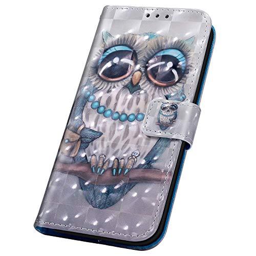 Surakey kompatibel mit Huawei Y7 2019 Hülle Handyhülle 3D Muster PU Leder Tasche Schutzhülle Brieftasche Handytasche Flip Hülle Wallet Tasche Etui Lederhülle für Huawei Y7 2019,Eule