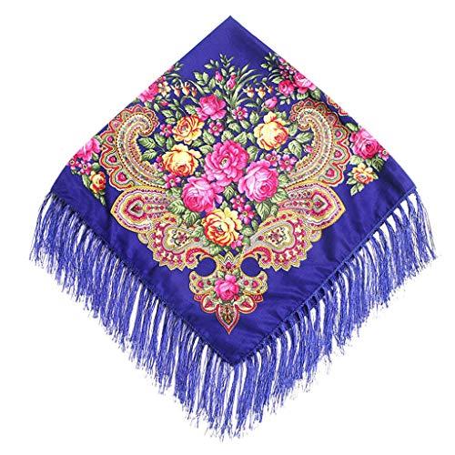 Lazzboy Frauen Lady Folk-Custom Print Quaste Square Schal Wrap Schal Travel Schal(C)