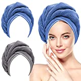 Microfiber Hair Towel Wrap for Women,2 Pack Hair Towels Wrap for Wet Hair,Super Absorbent Quick Dry Hair Turbans Towel with Button for Curly Long Hair