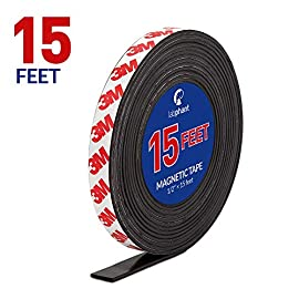 Magnetic Tape, 15 Feet Magnet Tape Roll (1/2'' Wide x 15 ft Long), with 3M Strong Adhesive Backing. Perfect for DIY, Art Projects, whiteboards & Fridge Organization 9 HIGH QUALITY MAGNET TAPE: Objects weighing up to 1.5 oz (~50 gram) can be held easily with a short strip. Add several or longer strips for heavier things. 3M STRONG ADHESIVE BACKING: Premium 3M adhesives are made for sticking quickly and firmly while last for a long time. Ideal for clean, smooth and uniform surfaces. 15 FEET MAGNET TAPE: Big Value packed into a strong zip bag for easy storage. Use short strips or for heavier items choose more strips to hold anything in place!