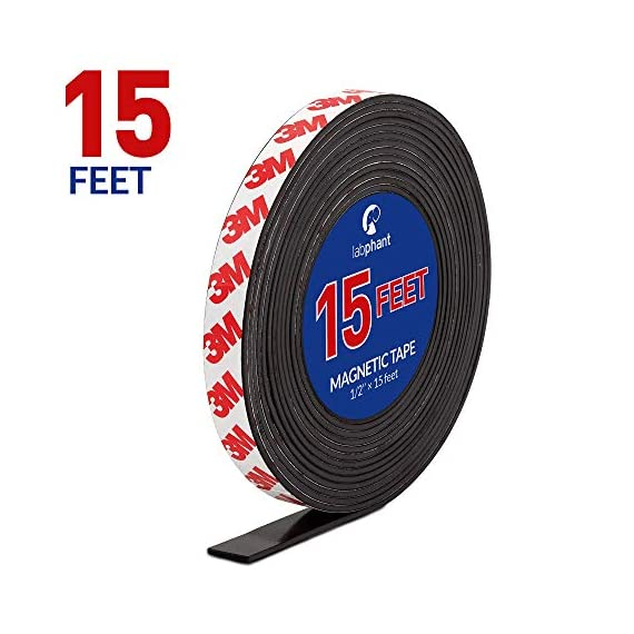 Magnetic tape, 15 feet magnet tape roll (1/2'' wide x 15 ft long), with 3m strong adhesive backing. Perfect for diy, art projects, whiteboards & fridge organization 1 high quality magnet tape: objects weighing up to 1. 5 oz (~50 gram) can be held easily with a short strip. Add several or longer strips for heavier things. 3m strong adhesive backing: premium 3m adhesives are made for sticking quickly and firmly while last for a long time. Ideal for clean, smooth and uniform surfaces. 15 feet magnet tape: big value packed into a strong zip bag for easy storage. Use short strips or for heavier items choose more strips to hold anything in place!