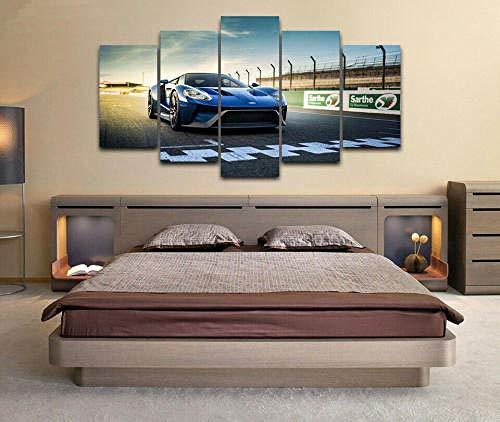 QMCVCDD 5 Piezas De Pared Fotos Cuadros En Lienzo Pista De Carreras De Ford GT Super Car HD Imprimir Modern Artwork Decoración De Arte De Pared Living Room 5 Piezas Artística Cuadros