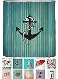 arteneur® - Anker - Anti-Schimmel Duschvorhang 180x180 mit Öko-Tex Standard 100 - Beschwerter Saum, Blickdicht, Wasserdicht, Waschbar, 12 Ringe und E-Book