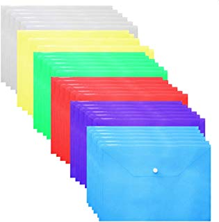 Plastic Envelopes Poly Envelopes - 24 Pack Poly Folders With Snap Button Closure Plastic Folders Premium Quality Document Folder A4 Size 6 Assorted Colors