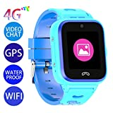 Vowor Kids Smart Watch, 4G WiFi GPS LBS Tracker SOS Emergency Call Video Chat Children Smartwatches, IP67 Waterproof Phone Watch for Boys Girls, Compatible with Android/iPhone iOS (Blue, V-01)