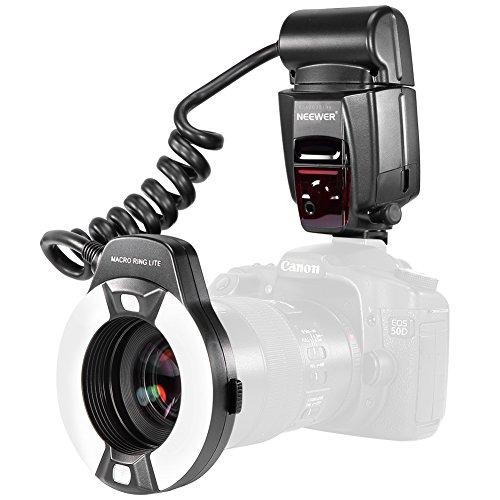 Neewer Macro TTL Ring Anillo luz de Flash con LED lámpara de Ayuda AF, AF Assist Lamp para Canon E-TTL TTL Cámaras/Tales como Canon EOS 5D Mark II EOS Rebel