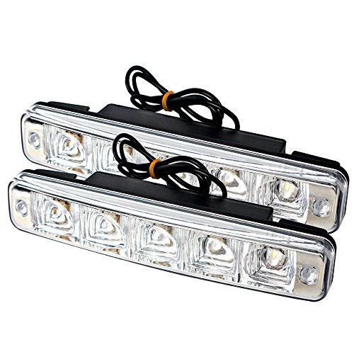 iTimo Lot de 2 feux de circulation diurnes à 5 LED super lumineux pour voiture - Feux de brouillard - Étanches