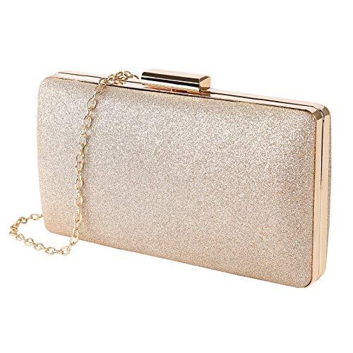 MaoXinTek Clutch Glitter, Damen Abendtasche Elgegante Glänzend Handtasche in Gold, Kette Umhängetasche Klein Portemonnaie Tasche für Braut Hochzeit Party Abschlussball