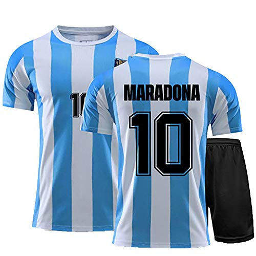 Herren Fußballtrikot, 1986 Argentinien Trikot, Geeignet für Maradona NO.10 Retro Fußball Sporttraining Trikot, Gedenkausgabe (Blau, XL)