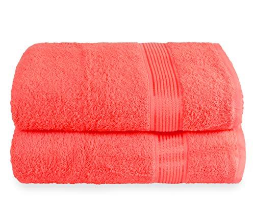 GLAMBURG Juego de 2 Toallas de baño de Gran tamaño de 70 x 140 cm, Toallas de baño Grandes, Ultra Absorbente Compacto de Secado rápido y Ligero, Color Naranja Coral