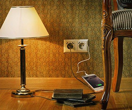Doppelsteckdose mit 4 x USB Anschluss Ladebuchsen, USB Schuko Wandsteckdose Passt in Standard 2-fach Unterputzdose, Schutzkontakt USB Steckdose Unterputz System 55 Reinweiß glänzend weiß TÜV geprüft