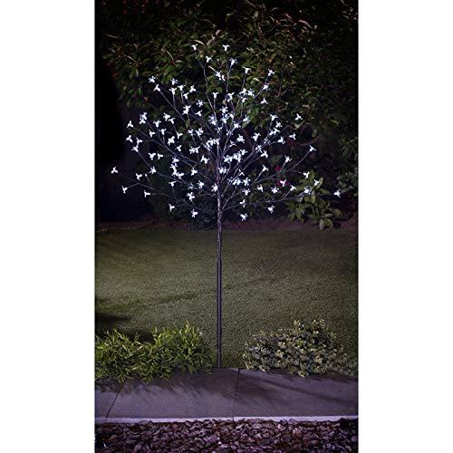 spot on dealz Solar Powered 4Ft 128 Led Blossom White Tree Garden Decor