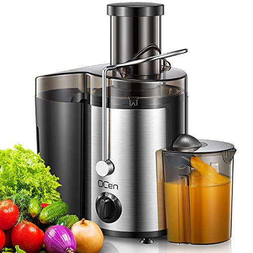 """Juicer Machine, 500W Centrifugal Juicer Extractor with Wide Mouth 3"""" Feed Chute for Fruit Vegetable, Easy to Clean, Stainless Steel, BPA-free, by QCen"""
