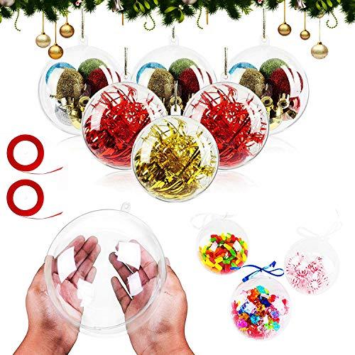 Palle Natale Plastica 20 Pezzi 8 cm Palla Trasparente,Trasparenti Palline di Natale,per Decorazioni Fai da Te Albero di Natale,Plastica Pallina da Riempire matrimoni, Natale, Capodanno, regali