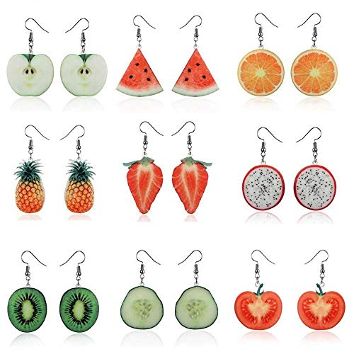 PULABO Fashion Drop Dangle Earrings Sets,Trendy Statement Creative Funny Cute Acrylic Fruit Earrings Sets for Women Girls Durable and Useful High Practicability, Security