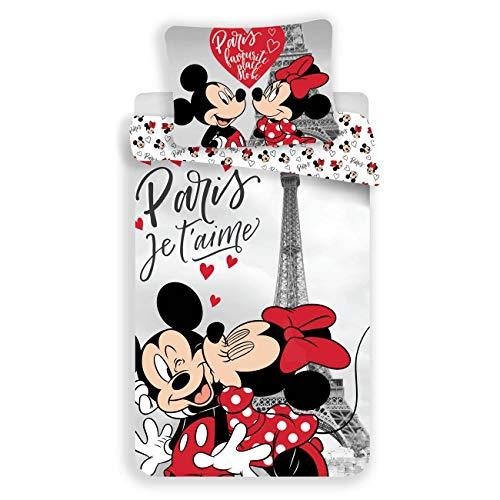 Juego de funda de edredón de 100% algodón, diseño de Minnie y Mickey Mouse Paris
