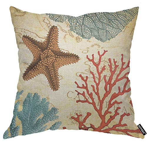 AOYEGO Starfish Coral Throw Pillow Cover Ocean Sail Map World Marine Voyage Sea Adventure Travel Pillow Case 18x18 Inch Decorative Men Women Boy Girl Room Cushion Cover for Home Couch Bed