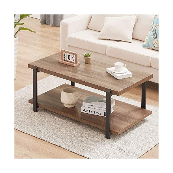 FOLUBAN Industrial Coffee Table with Shelf, Wood and Metal Rustic Cocktail Table...