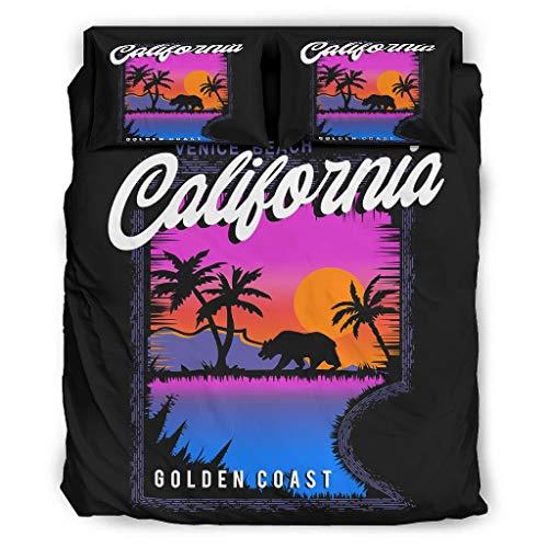 WellWellWell California Pacific - Juego de cama de 4 piezas con cremallera,...
