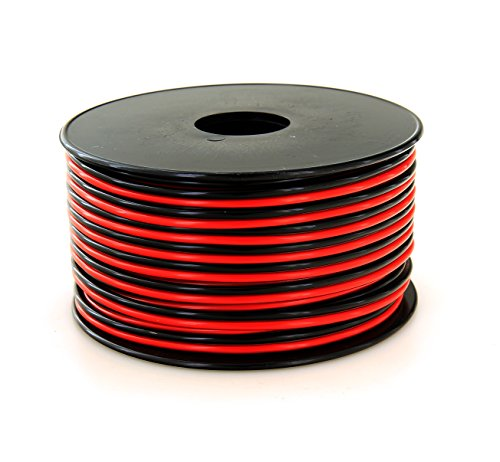GS Power 100% Copper 16 AWG (American Wire Gauge) Stranded Flexible Dual Conductor Bonded Zip Cord Cable for Car Amplifier Automotive Trailer Harness Hookup Wiring – 100 feet Red/Black